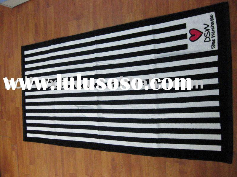 cotton velour reactive printed beach towel,stripe design reactive printed beach towel