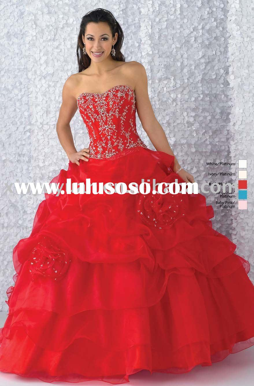 delicate beading ball gown red chiffon quinceanera dresses with jacket BOQ-043