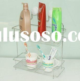 double layer Bathroom wall shelf with suction cup