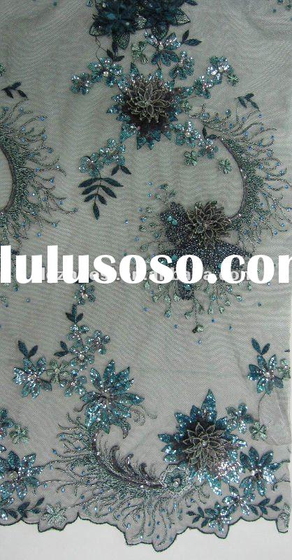 embroidery beaded sequined evening dress lace fabric for dresses