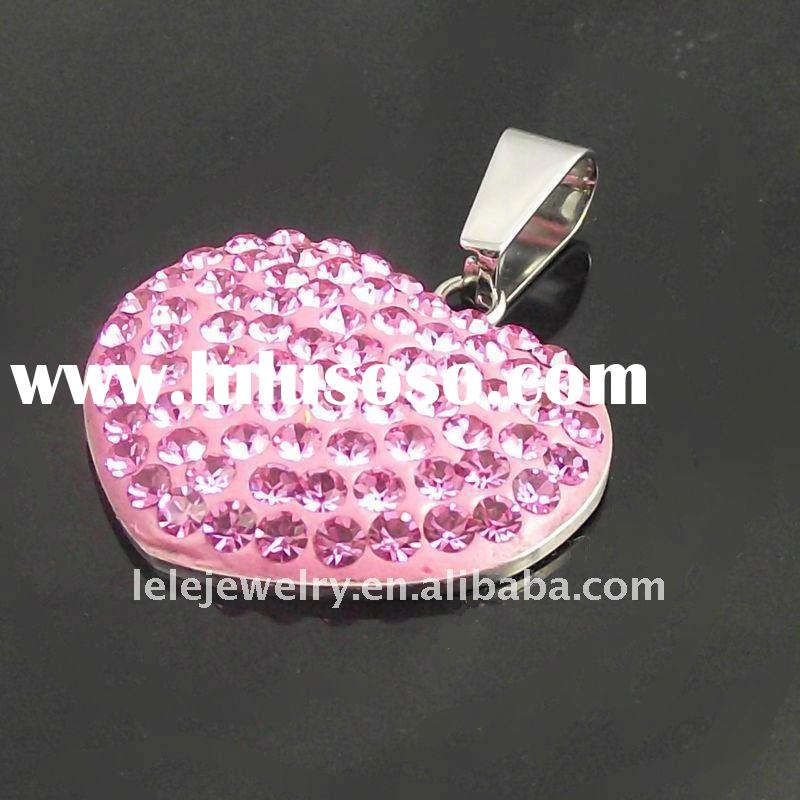 fahsion stainless steel heart pendant with pink crystal popular in Europe and America