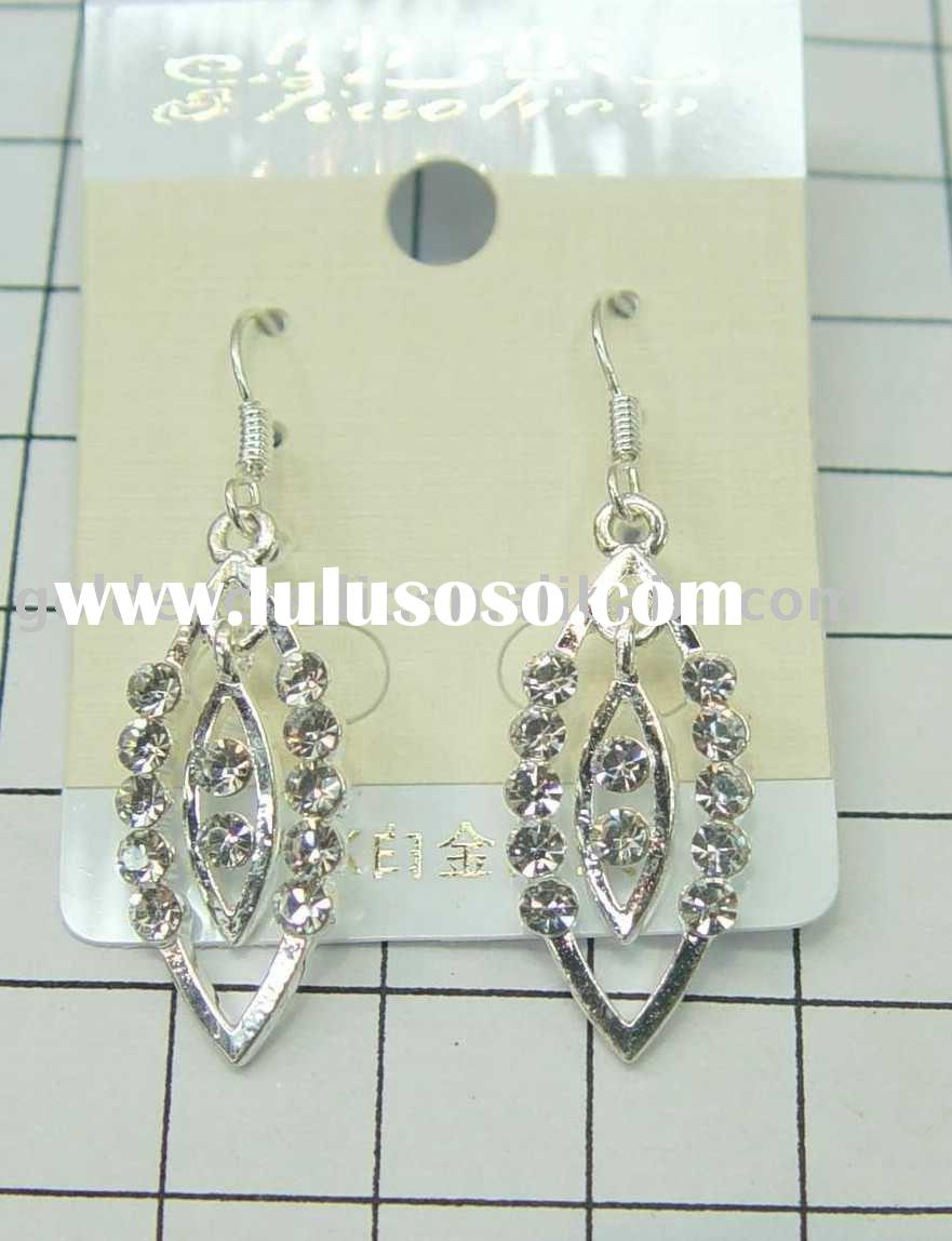 fashion 18K white gold teardrop earrings earring with rhine stone ,alloy earrings ,beautiful earring