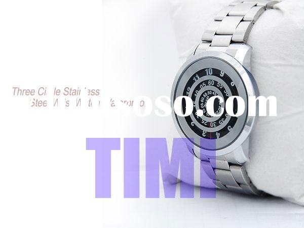 fashion watch Water Resist watch Three Circle watch Stainless Steel Wrist Watch T663 silicone watch