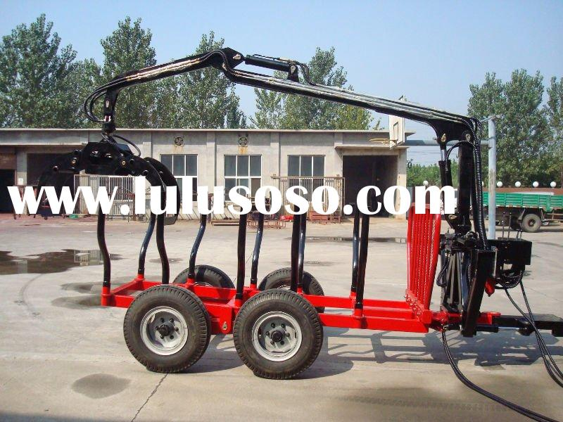 forest log loading trailer, Log trailer with crane for Tractor,wood trailer,timber trailer