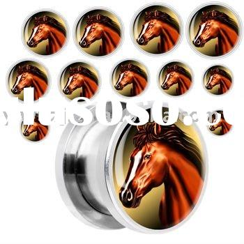 horse logo picture 316l stainless steel fake plugs,ear plug body jewelry,flesh tunnel body piercing