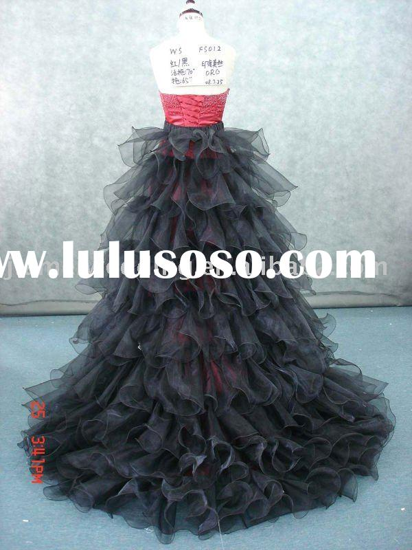 hot selling red and black organza and India real silk wedding dress with long train Model FS012