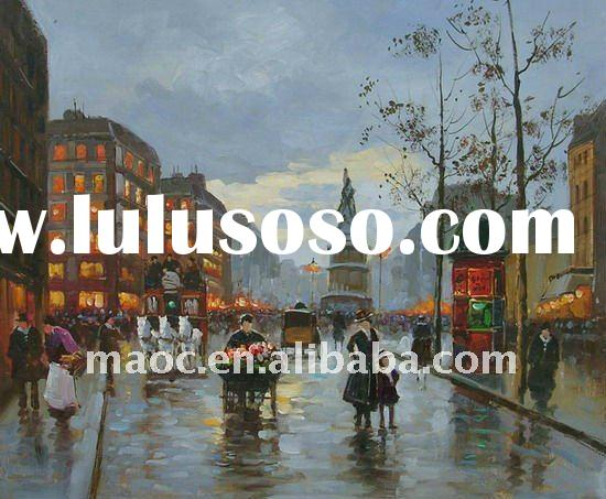 landscape street canvas art oil paintings