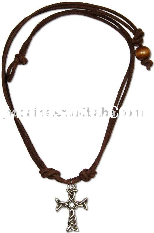 leather necklace with pewter Celtic cross necklaces