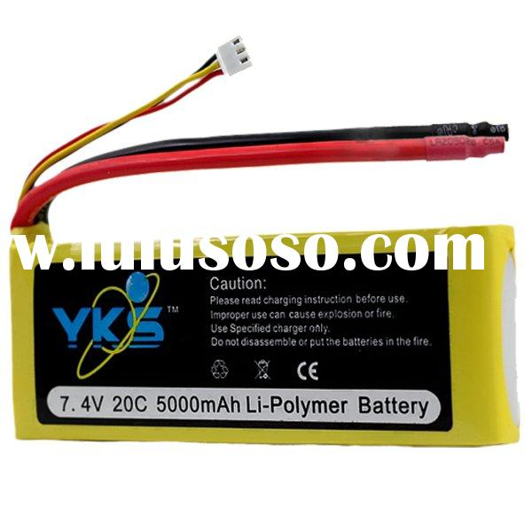 lipo battery pack 7.4v 5000mAh 20c rc high rate lipo battery