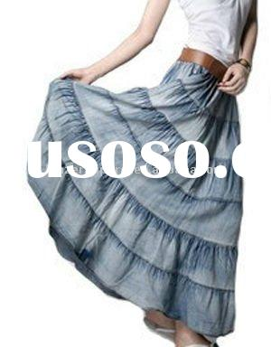 long fashion jeans skirt