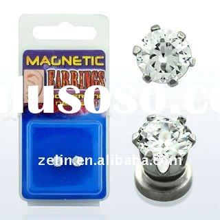 magnetic earring 3mm prong setting round CZ (Cubic Zirconia), non-piercing fake body jewelry on www.