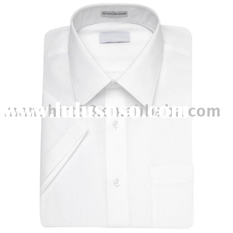 men's white T/C short sleeve dress shirt