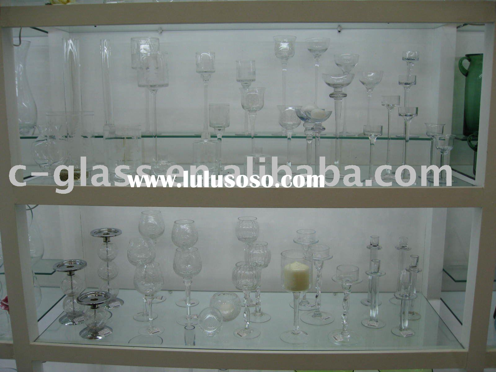 mouth blown long stem glass candle holders