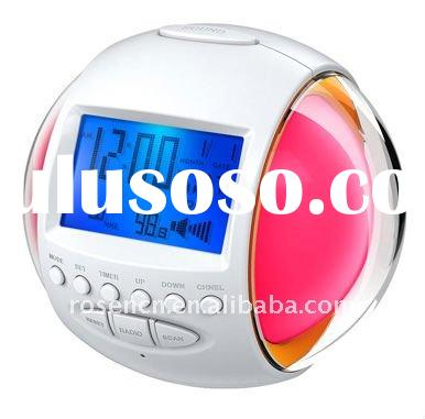 nature sound clock with FM radio alarm and mood light clock and 7 color light changing