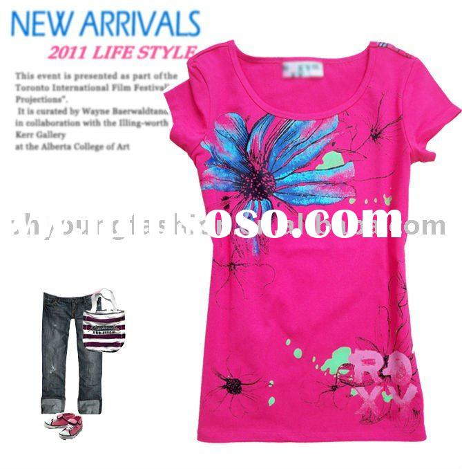new arrival 100% viscose young women's printing logo short sleeved round neck t-shirt