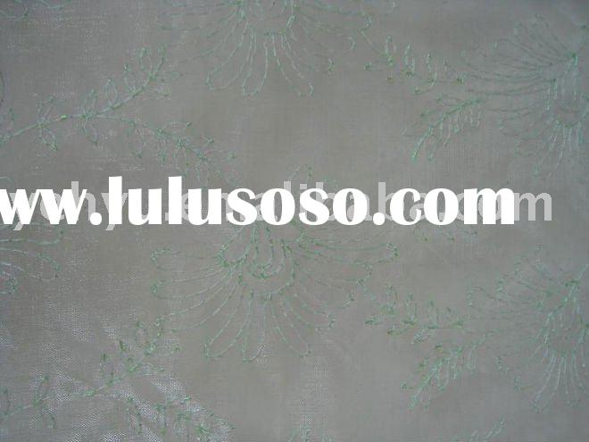 organza embroidery fabric with green flower outline embroidery pattern designs