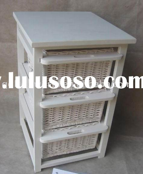 painted wooden chest cabinet with 3 wicker drawers