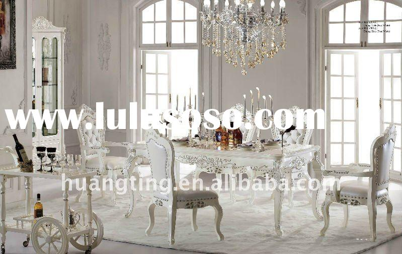 palace solid wood long dining table/ royal luxury white dining room furniture/noble villa furniture