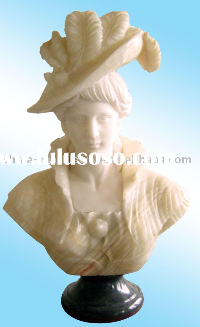 peach marble bust statue of a lady wearing a beautiful hat (H70,80cm)
