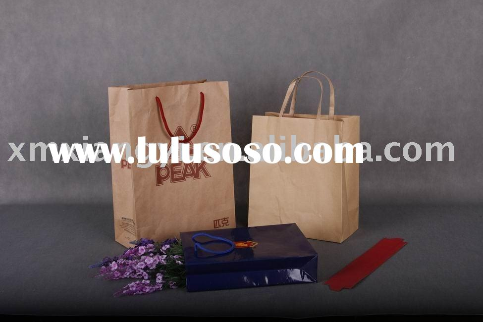 plain brown recycle kraft paper bag with external plate handle