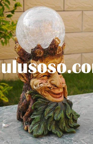 polyresin tree face with glass ball solar garden lamp decoration