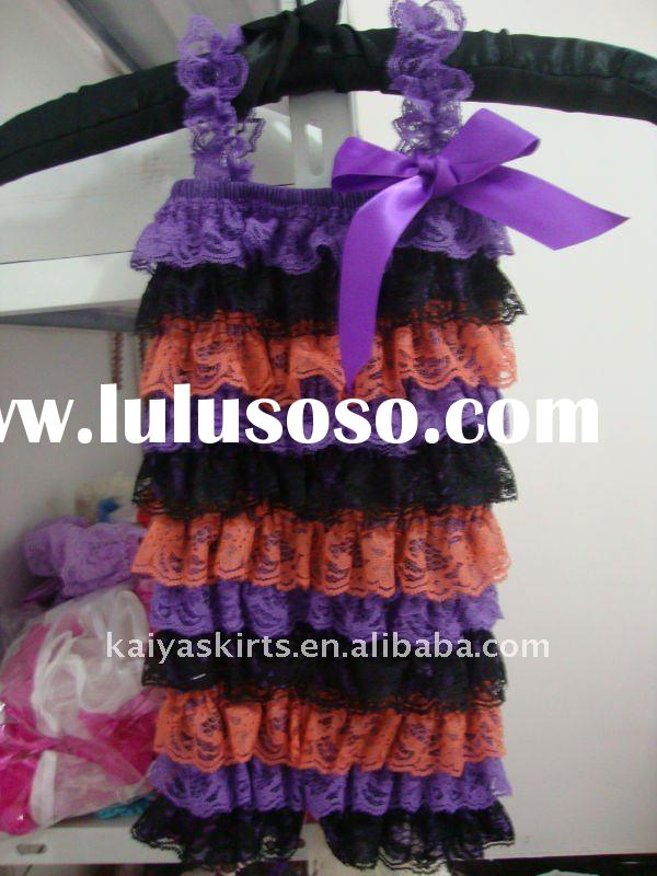 posh lace romper with strap and bow for halloween