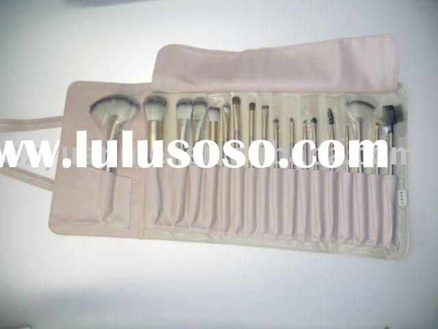 profesional makeup brush set with brush roll , various hair colors and handle colors available
