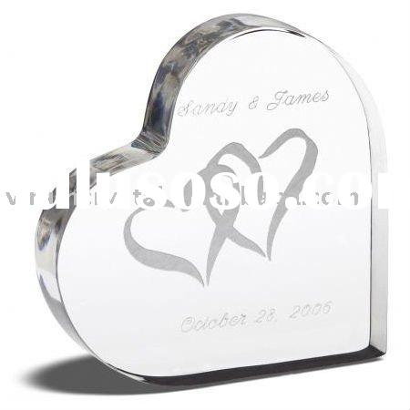 sandblasting crystal heart shape wedding cake topper