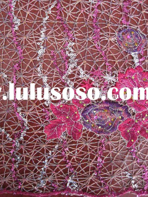 sequins embroidery fabric with water soluble design