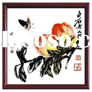 silk artwork/Qi Baishi's painting/Chinese Classical Painting about PEACH/decorative picture/