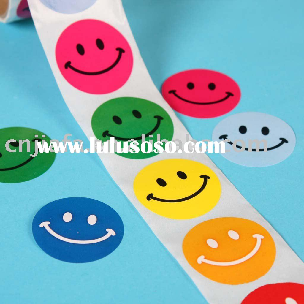 smile face pvc sticker, adhesive vinyl sticker