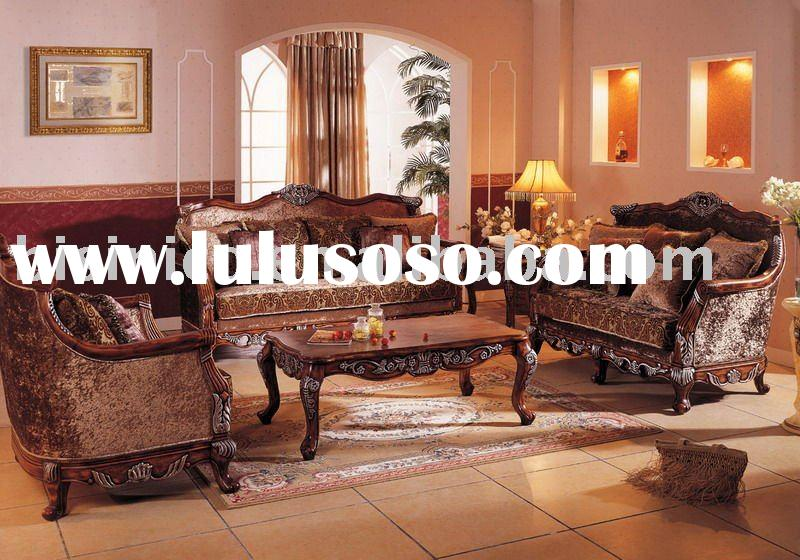 solid wood frame upholstered fabric chesterfield sofa set antique European style sofa B47050