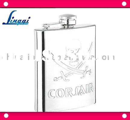 stainless steel hip whisky flask with embossed logo /low wholesale price