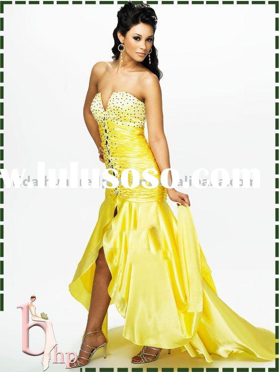 straight strapless zipper back yellow prom dress prom gown