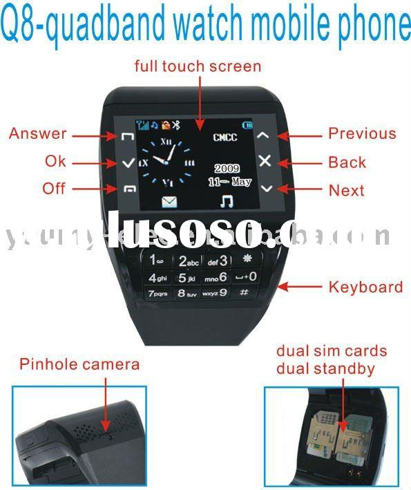 unlocked cell phones Q8 Watch Phone with dual sim dual standby Quadband Camera Bluetooth MP3 and MP4