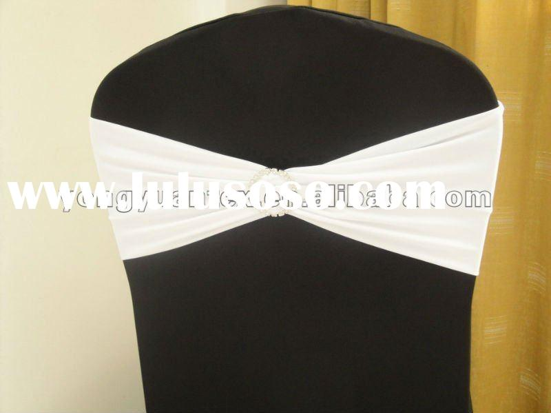 wedding white spandex chair band with diamond buckle/spandex chair cover sash/lycra chair bow