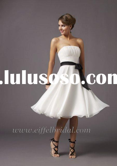 white and black knee-length chiffon cool summer dress
