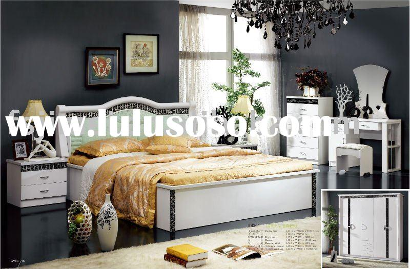 white & black MDF Bedroom Furniture Set