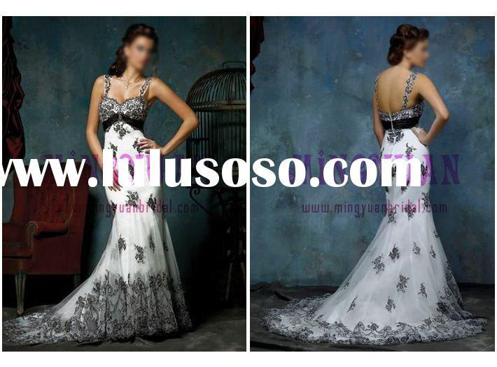 white organza appliqued black lace sleeveless wedding dress w2015
