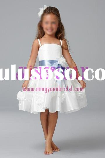 white organza with blue ribbon flower girl dress fn80