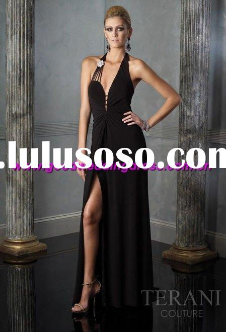 whoelsale New style hot sale halter beaded hand made evening dress/evening gown/black chiffion dress