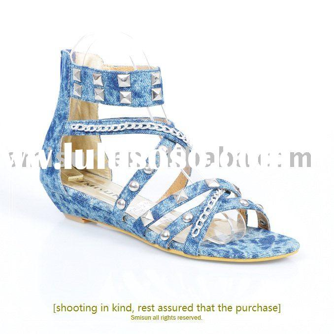 wholesale,Guaranteed 100%,New/denim,design shoes,2010 women's sandals,wedge heel,rubber,for