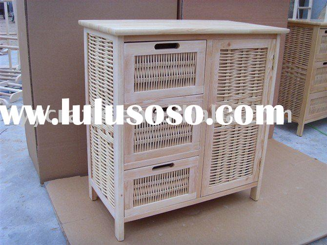 wood and wicker storage cabinet with 4 drawers