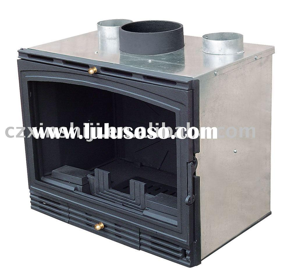 wood burning insert stove with metal cover