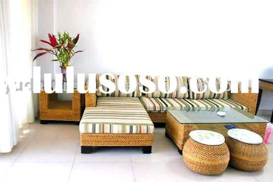 wooden outdoor furniture Natural Indonesia Water hyacinth rattan living room sofa