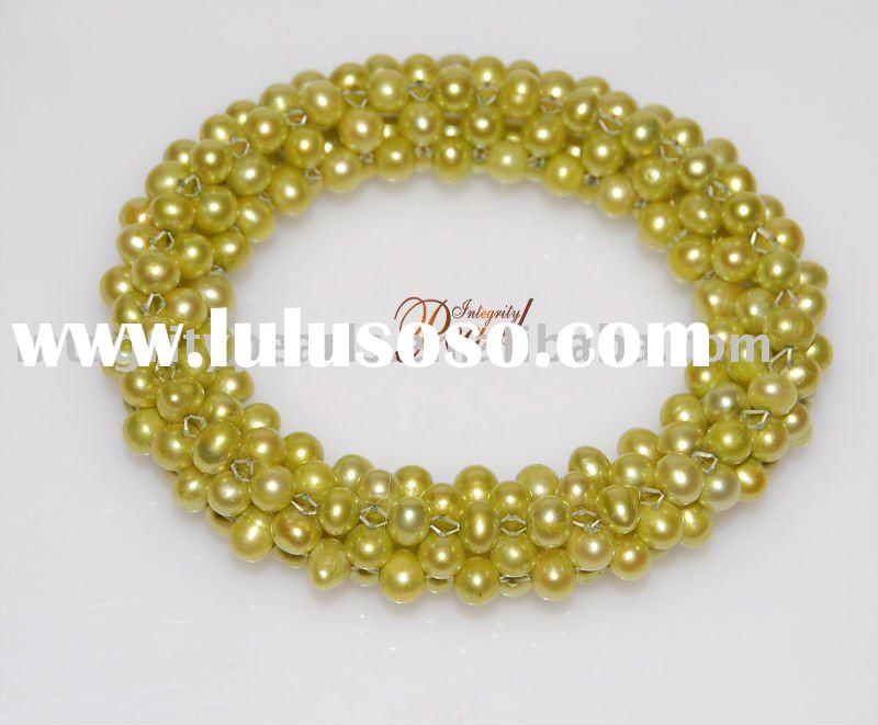 yellow color nature freshwater pearl bracelets jewelry