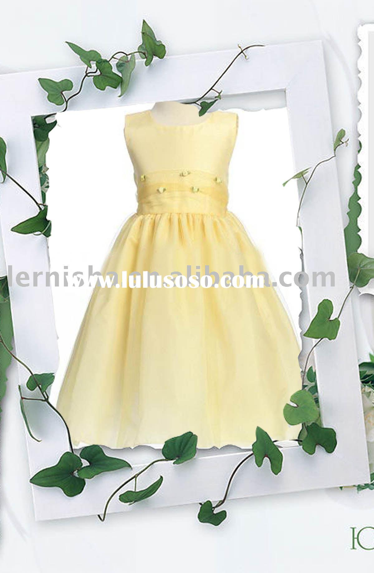 yellow flower girls' dresses,dresses H205