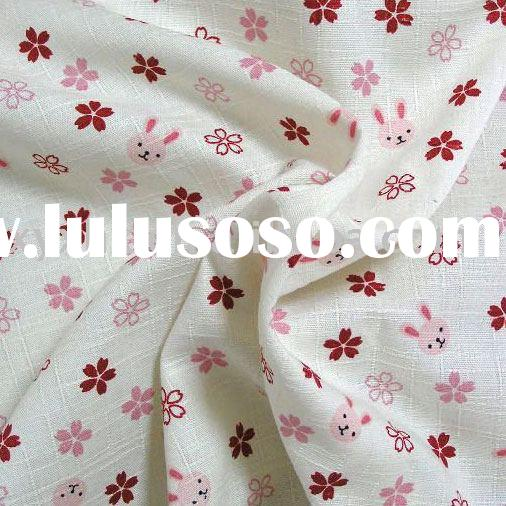 100% Cotton printed cloth fabric with pink rabbit