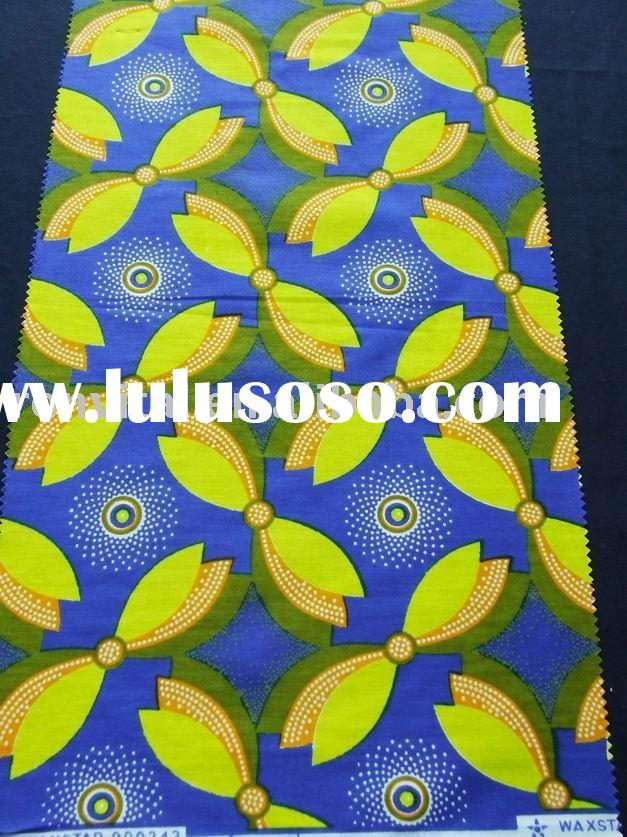100% cotton real wax fabric, African cotton printed fabric popular pattern