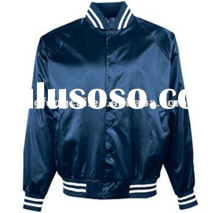 100% polyester long sleeve full button satin baseball jacket for men